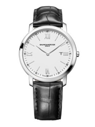 Baume And Mercier Classima Stainless Steel And Alligator Strap Watch White Silver Black