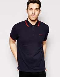 Ben Sherman Polo Shirt With Twin Tip Jetblack