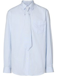 Burberry Striped Cotton Shirt And Tie Twinset Blue