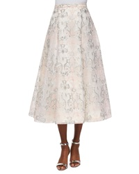 Kay Unger New York Organza Jacquard A Line Midi Skirt