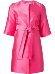 P.A.R.O.S.H. Three Quarter Length Sleeve Coat Pink And Purple