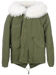 Mr And Mrs Italy Short Parka Coat Women Cotton Lamb Skin Polyester Racoon Fur Xxs Green