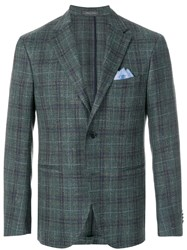 Cantarelli Handkerchief Plaid Fitted Jacket Green