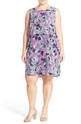 Plus Size Women's Halogen Sleeveless Shift Dress Purple Green Floral