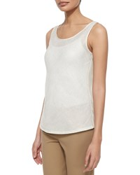 Lafayette 148 New York Brush Mesh Bias Linen Tank Women's