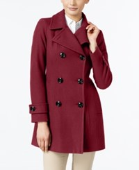 Anne Klein Long Peacoat Only At Macy's Red