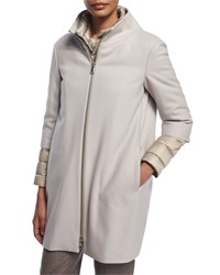 Peserico Two Piece Puffer Jacket And Wool Blend Coat Silver
