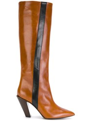 A.F.Vandevorst Knee High Boots With Stripe Calf Leather Leather 39.5 Brown