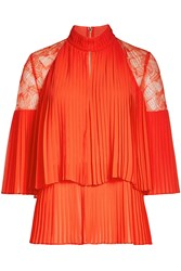 Elie Saab Pleated Top With Lace