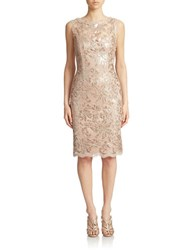 Cachet Champagne Lace Sheath Dress Blush