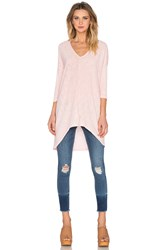 Bobi Cotton Slub V Neck Dolman Long Sleeve Tee Pink