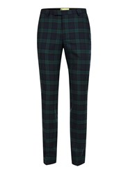 Topman Noose And Monkey Green And Navy Check Suit Trousers