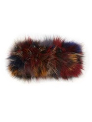 Adrienne Landau Fox Fur Headband Red Multi