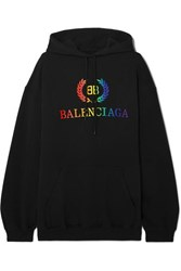 Balenciaga Laurier Oversized Embroidered Cotton Jersey Hoodie Black