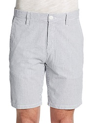 Saks Fifth Avenue Blue Woven Striped Cotton Shorts Grey