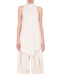 Proenza Schouler Turtleneck High Low Swing Blouse Off White
