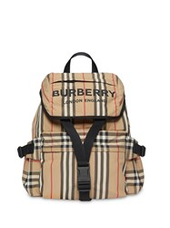 Burberry Logo Print Icon Stripe Nylon Backpack Neutrals