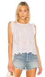 1.State 1. State Embroidered Eyelet Blouse In White. Ultra White