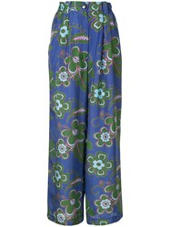 Michel Klein Floral Print Wide Leg Trousers Blue
