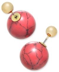 Macy's Gold Tone Marble Look And Metallic Ball Front And Back Earrings