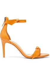 Alexandre Birman Clarita Bow Embellished Glossed Leather Sandals Orange