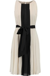 L'agence Pleated Crepe Dress Brown