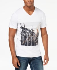 Inc International Concepts Men's Double City Graphic V Neck T Shirt Created For Macy's White
