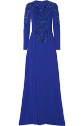 Zuhair Murad Embellished Tulle Paneled Silk Blend Cady Gown Royal Blue