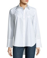 Adam By Adam Lippes Embroidered Long Sleeve Blouse White