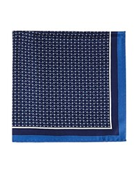 Bloomingdale's The Men's Store At Geometric Chainlink Pocket Square Navy