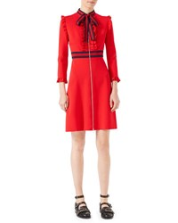 Gucci Long Sleeve Jersey Dress W Web Trim Red