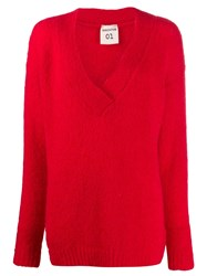 Semicouture Oversized V Neck Jumper Red