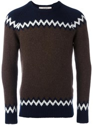 La Fileria For D'aniello Chevron Intarsia Jumper Blue