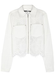 Mcq By Alexander Mcqueen White Lace And Denim Jacket Ivory