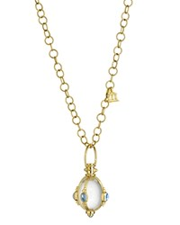 Temple St. Clair 18K Yellow Gold Classic Cabochon Amulet With Oval Rock Crystal Royal Blue Moonstone And Tanzanite