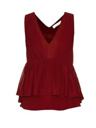 Chloe Plunging V Neck Crepe Top Burgundy