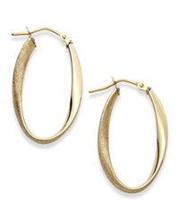 Macy's 14K Gold Earrings Polished And Textured Oval Twist Hoop Earrings