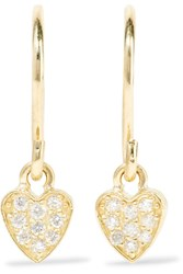 Jennifer Meyer Mini Heart 18 Karat Gold Diamond Earrings One Size