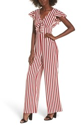 Love Fire Women's Tie Front Wide Leg Jumpsuit Red White Stripe