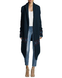 Banjo And Matilda Fluffy Tribal Print Long Cardigan Navy