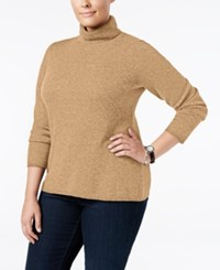 Charter Club Plus Size Cashmere Turtleneck Sweater Only At Macy's Heather Camel