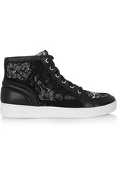Michael Michael Kors Philippa Lace And Leather High Top Sneakers Black