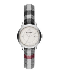 Burberry 32Mm Classic Round Watch W Check Fabric Strap Silver