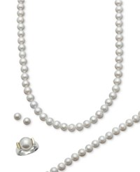 Belle De Mer Cultured Freshwater Pearl Necklace Bracelet Ring And Stud Earring Set 7 1 2 8 1 2Mm In 14K Gold And Sterling Silver