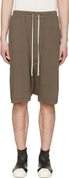 Rick Owens Brown Jersey Boxer Pods Shorts