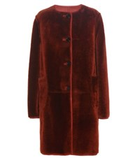 Marni Reversible Fur Coat Red