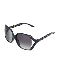 Gucci Open Temple Bamboo Detail Sunglasses Blue