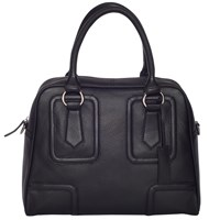 Chesca Large Leather Bowling Bag Black