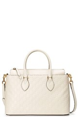 Gucci Small Top Handle Signature Leather Satchel White Mystic White