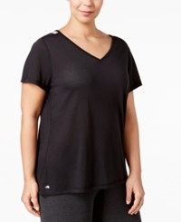 Ideology Plus Size V Back Performance T Shirt Only At Macy's Noir